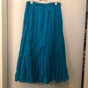 Aqua Blue Below Knee Skirt